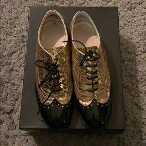 Chanel lace up flats